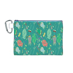 Floral Elegant Background Canvas Cosmetic Bag (m)