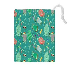 Floral Elegant Background Drawstring Pouches (Extra Large)