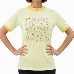 Floral Pattern Background  Women s Fitted Ringer T-Shirts