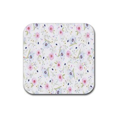 Floral Pattern Background  Rubber Square Coaster (4 Pack)