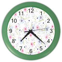 Floral Pattern Background  Color Wall Clocks