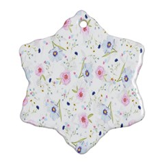 Floral Pattern Background  Snowflake Ornament (Two Sides)