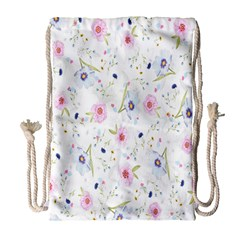 Floral Pattern Background  Drawstring Bag (Large)