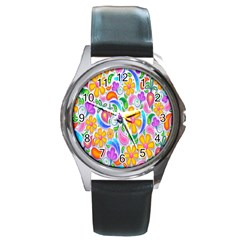 Floral Paisley Background Flower Round Metal Watch