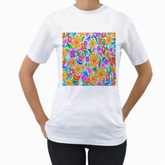 Floral Paisley Background Flower Women s T-Shirt (White) (Two Sided)