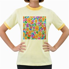 Floral Paisley Background Flower Women s Fitted Ringer T Shirts