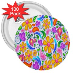 Floral Paisley Background Flower 3  Buttons (100 pack)