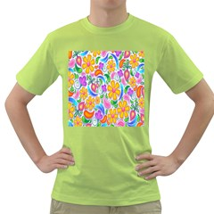Floral Paisley Background Flower Green T-Shirt