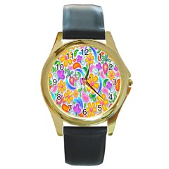 Floral Paisley Background Flower Round Gold Metal Watch