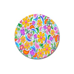 Floral Paisley Background Flower Magnet 3  (Round)