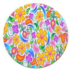 Floral Paisley Background Flower Magnet 5  (Round)