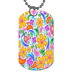 Floral Paisley Background Flower Dog Tag (two Sides)