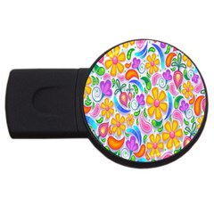 Floral Paisley Background Flower USB Flash Drive Round (1 GB)