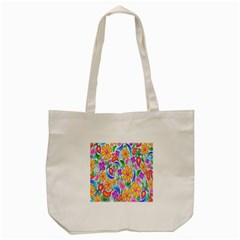 Floral Paisley Background Flower Tote Bag (cream)