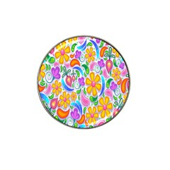 Floral Paisley Background Flower Hat Clip Ball Marker (4 pack)