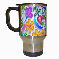 Floral Paisley Background Flower Travel Mugs (White)