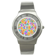 Floral Paisley Background Flower Stainless Steel Watch