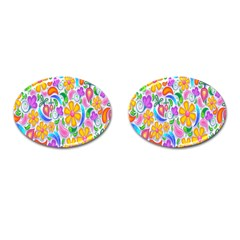 Floral Paisley Background Flower Cufflinks (oval)
