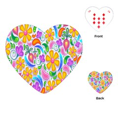 Floral Paisley Background Flower Playing Cards (heart)