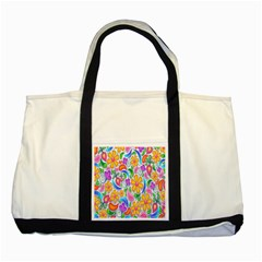 Floral Paisley Background Flower Two Tone Tote Bag