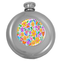 Floral Paisley Background Flower Round Hip Flask (5 oz)