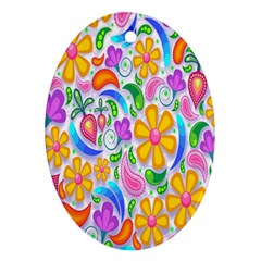 Floral Paisley Background Flower Oval Ornament (Two Sides)
