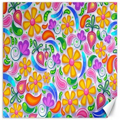 Floral Paisley Background Flower Canvas 12  x 12