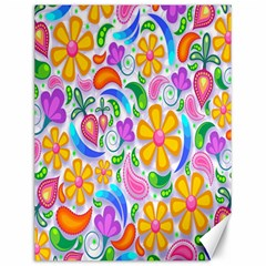 Floral Paisley Background Flower Canvas 12  x 16