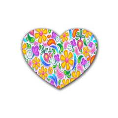 Floral Paisley Background Flower Rubber Coaster (heart)