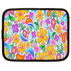 Floral Paisley Background Flower Netbook Case (Large)