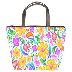 Floral Paisley Background Flower Bucket Bags