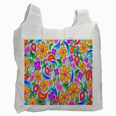 Floral Paisley Background Flower Recycle Bag (Two Side)