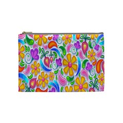 Floral Paisley Background Flower Cosmetic Bag (medium)