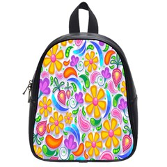 Floral Paisley Background Flower School Bags (Small)