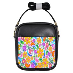 Floral Paisley Background Flower Girls Sling Bags