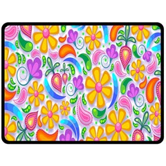 Floral Paisley Background Flower Fleece Blanket (Large)