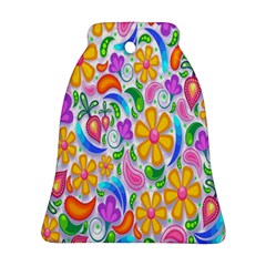 Floral Paisley Background Flower Bell Ornament (Two Sides)