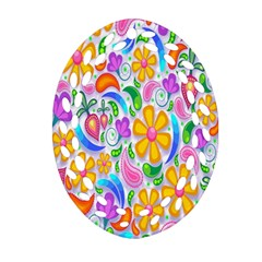 Floral Paisley Background Flower Ornament (Oval Filigree)