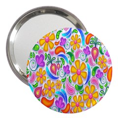 Floral Paisley Background Flower 3  Handbag Mirrors