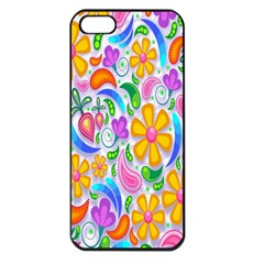 Floral Paisley Background Flower Apple iPhone 5 Seamless Case (Black)