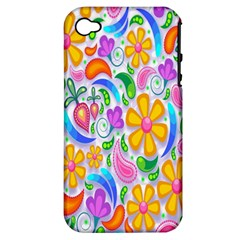Floral Paisley Background Flower Apple iPhone 4/4S Hardshell Case (PC+Silicone)