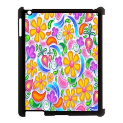 Floral Paisley Background Flower Apple Ipad 3/4 Case (black)