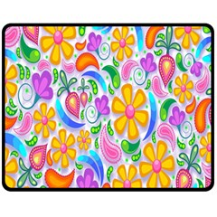 Floral Paisley Background Flower Double Sided Fleece Blanket (medium)