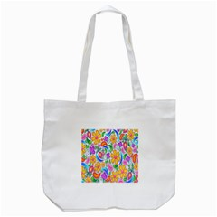 Floral Paisley Background Flower Tote Bag (White)