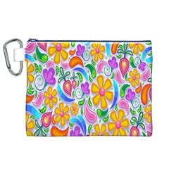 Floral Paisley Background Flower Canvas Cosmetic Bag (XL)