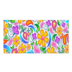 Floral Paisley Background Flower Satin Shawl