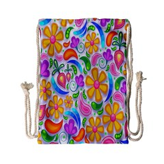 Floral Paisley Background Flower Drawstring Bag (small)