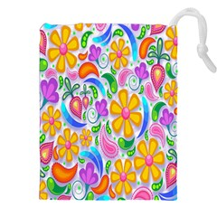 Floral Paisley Background Flower Drawstring Pouches (xxl)