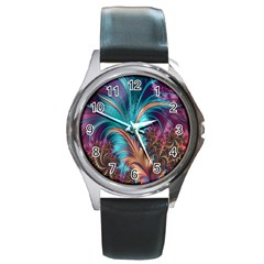 Feather Fractal Artistic Design Round Metal Watch