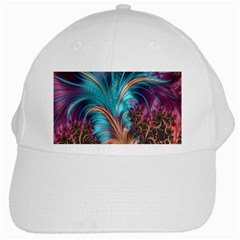 Feather Fractal Artistic Design White Cap